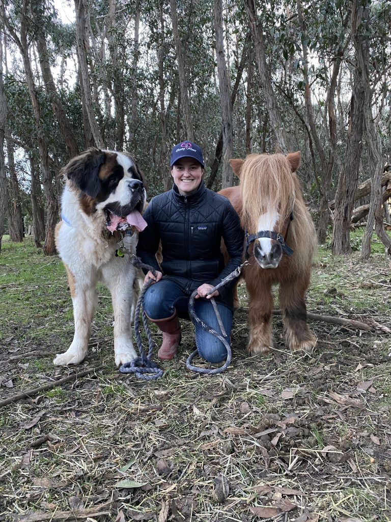 Effie Gray with her Saint Bernard and a pony